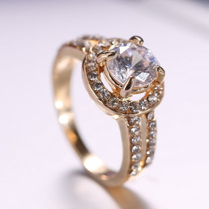 women gold Ring for Bride wedding Crystal Ring Engagement Ring Girl
