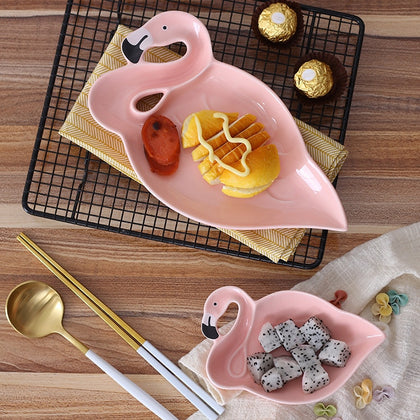 Creative 3D Pink Flamingo Ceramic Plate Dishes Bowl Snacks Dried Fruit Plate Dessert Plate Dinnerware Crockery Decorative Plate