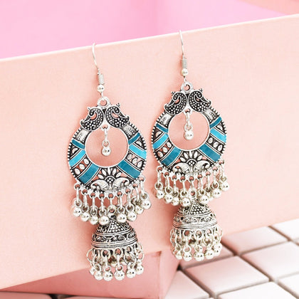 Egypt Vintage Silver Alloy Jhumka Bells Beads Tassel Statement Earrings