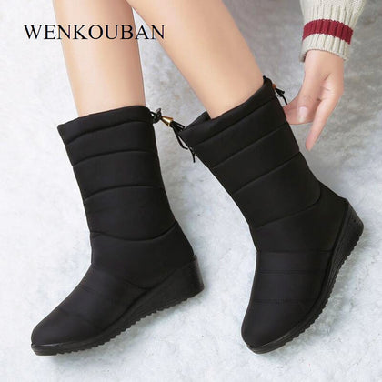 Waterproof Winter Boots Female Shoes Mid-Calf Down Boots