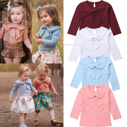 Toddler Kids Baby Girl Bowknot Peter Pan Collar Cotton T-shirt