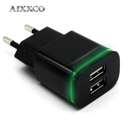 5V 2A EU Plug LED Light 2 USB Adapter Mobile Phone Wall Charger Device Micro Data Charging For iPhone 5 6 iPad Samsung