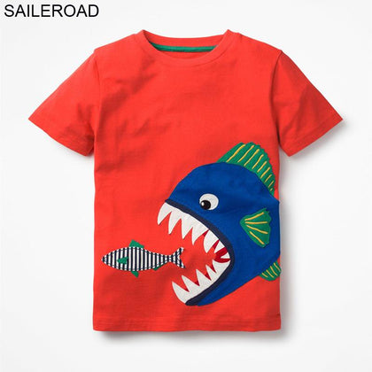 SAILEROAD 2-7 Year Shark Bite Fish Baby Newborn Boys Topwear