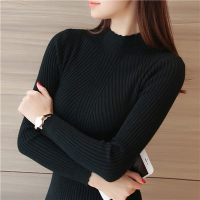 Knitting Women Sweaters And Pullovers Solid Color Turtleneck Slim Casual Ladies Knitted Sweater Winter New Chic Lace Pullover