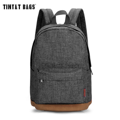 TINYAT Men Male Canvas Backpack Gray Casual Rucksacks 15inch Laptop Backpacks