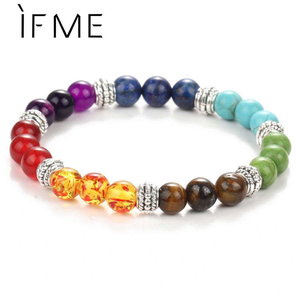 IF ME Fashion 7 Chakra Bracelet Men Black Lava Healing Balance Beaded