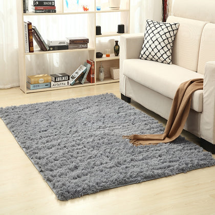 Soft Silk Wool Rug Indoor Modern Shag Area Rug Silky Rugs Bedroom