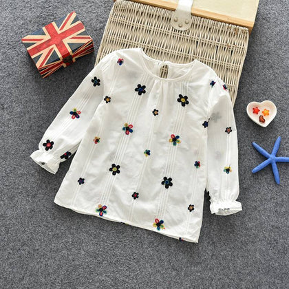 Casual Girls Autumn Spring Floral Cotton T-shirt Children Clothes