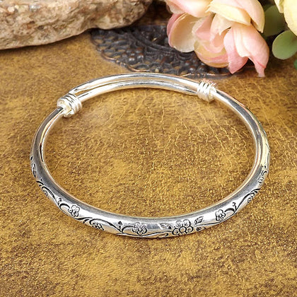 Vintage Retro Silver Bangles Women Classic Handmade Tibetan Silver Carved Plum Cuff Bracelet