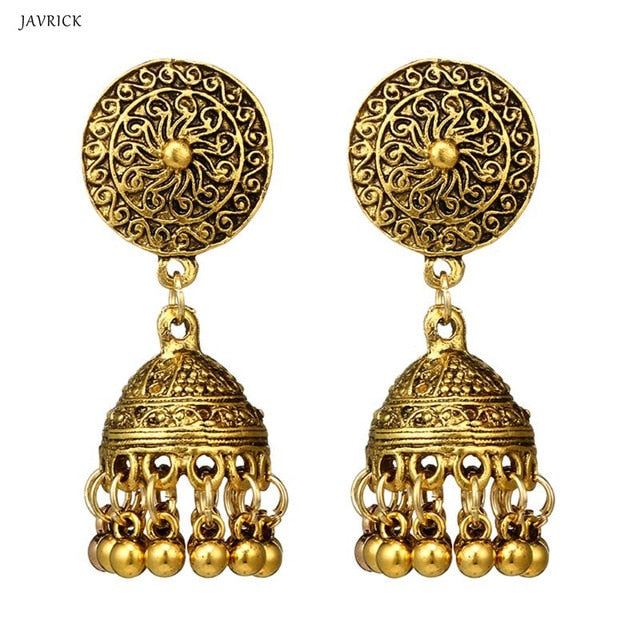 Vintage Earrings Traditional Gold Sliver Chandbali Kundan Jhumka Jhumki