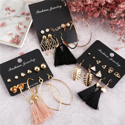 IF ME Vintage Geometric Tassel Dangle Earrings For Women Gold Color