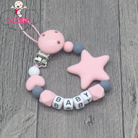 Personalized Name Handmade Pacifier Clips Holder Chain Silicone Pacifier