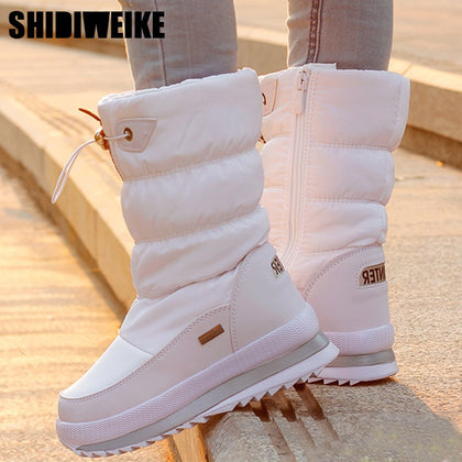 Classic Women Winter Boots Mid-Calf Snow Boots Female