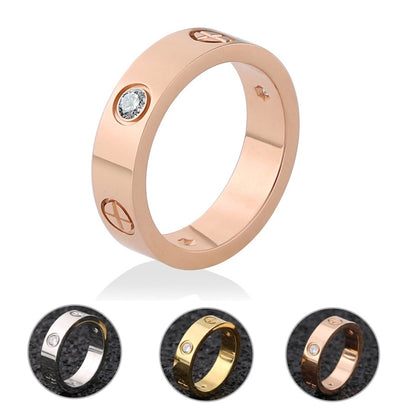 Rose Gold Stainless Steel Ring With Stone Crystal For Woman Girl For Men Couple