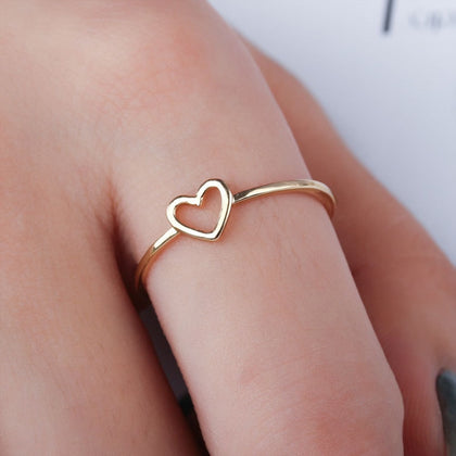 minimalist gold silver thin metal hollow heart love charm size 6 7 8 9 10 ring