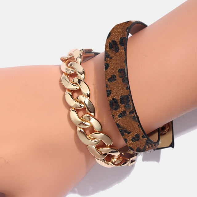 Leopard Bangle Bracelets For Women