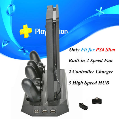 PS4 Slim Console Vertical Cooling Stand  with Dual Joystick Controller Charger Dock Station for Sony Playstation 4 Slim Games