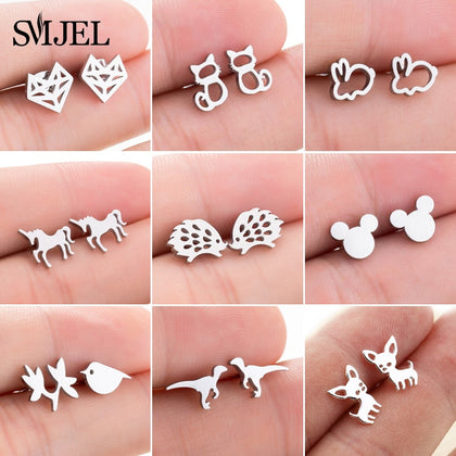 Stainless Steel Mickey Stud Earrings for Women Girls Minimalist Fox Cat Hedgehog Earings