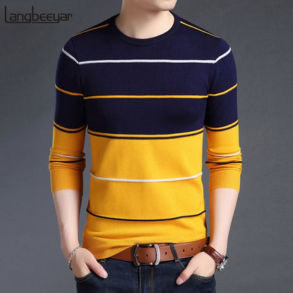 New Fashion Brand Sweater Mens Pullover Striped Slim Fit Jumpers Knitred Woolen Autumn Korean Style Casual Men Clothes