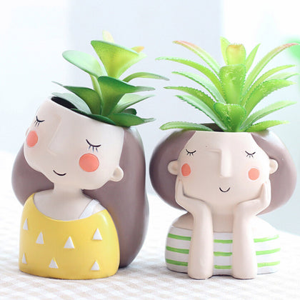 Boys and Girl Design Flower Home Garden Home Decoration Planter Pot Cute Flowerpot Planter Desktop Vase Home Office Bonsai Pot