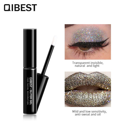 QIBEST High-gloss Glitter Powder Special Glue Lasting Eye and Lip Shimmer Makeup  Quick-drying Festival Glitter Glue TSLM2