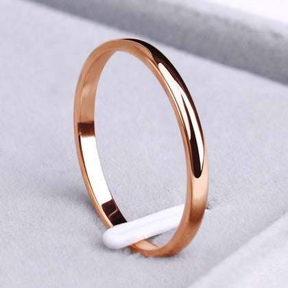 Stainless Steel Rings Rose Gold Anti-allergy Smooth Simple personalized custom Wedding Couples Rings