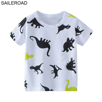 SAILEROAD 2-7T Cartoon Dinosaur Baby Boys Girls Shorts Sleeve T Shirt