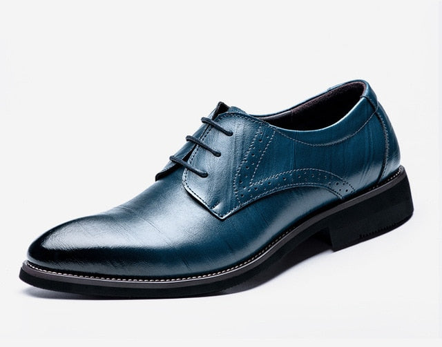 Classic Men Dress Shoes Genuine Leather Wingtip Carved Italian