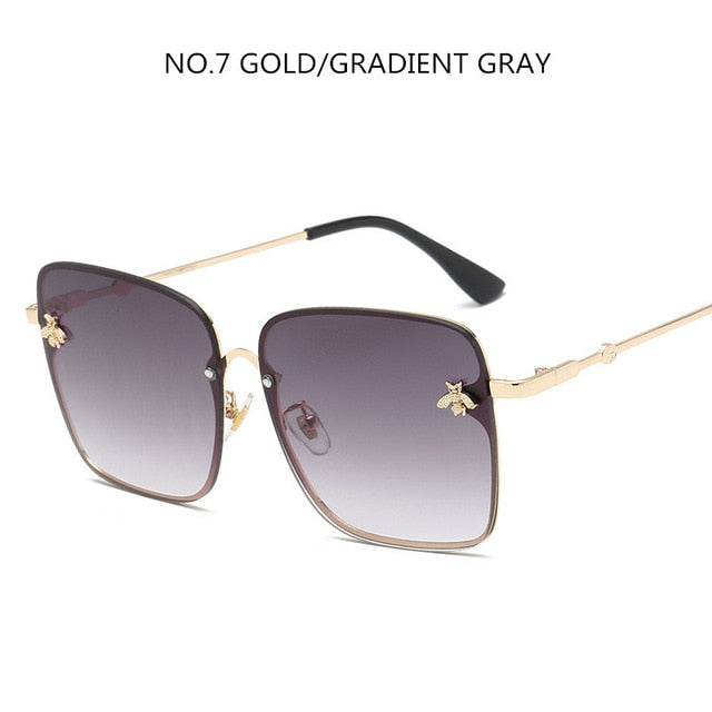 Luxury Square Bee Sunglasses Women Men Retro Brand designer Metal Frame Oversized Sun Glasses Female Grandient Shades Oculos