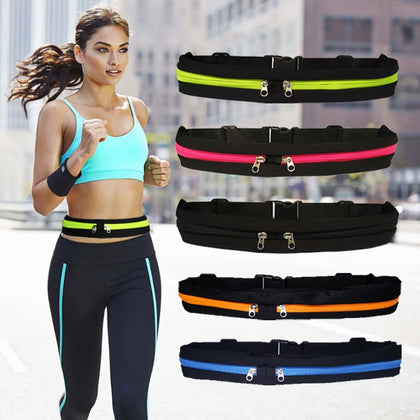 Waist Pack Men Women Fashion Double Pocket Waterproof Phone Belt