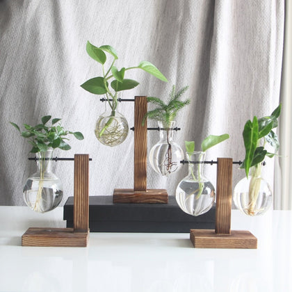 Hydroponic Desktop Plant Vase Vintage Glass Bonsai Flower Pot Tabletop Decoration Vase with Wooden L / T Shape Tray Home Decor