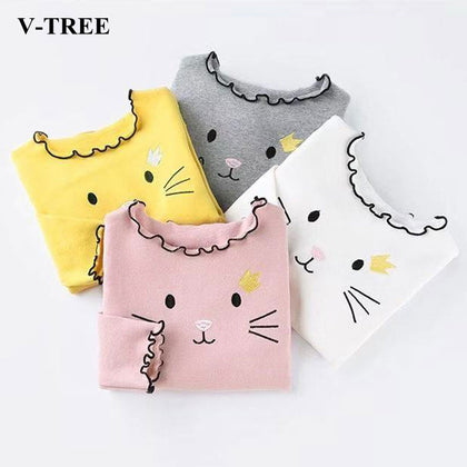 Spring Autumn Girls T Shirt Cotton Tops For Kids Cartoon Children Shirts