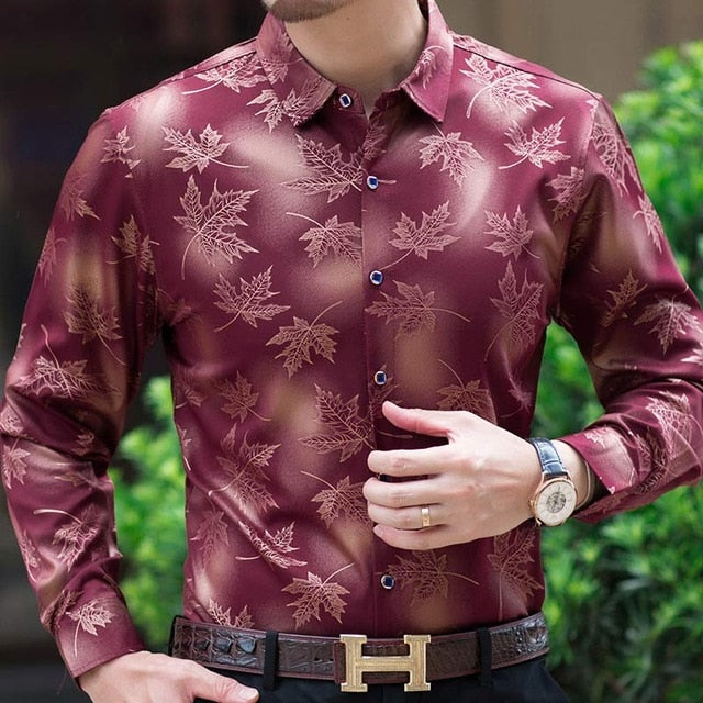 long sleeve maple leaf designer shirts men slim fit vintage