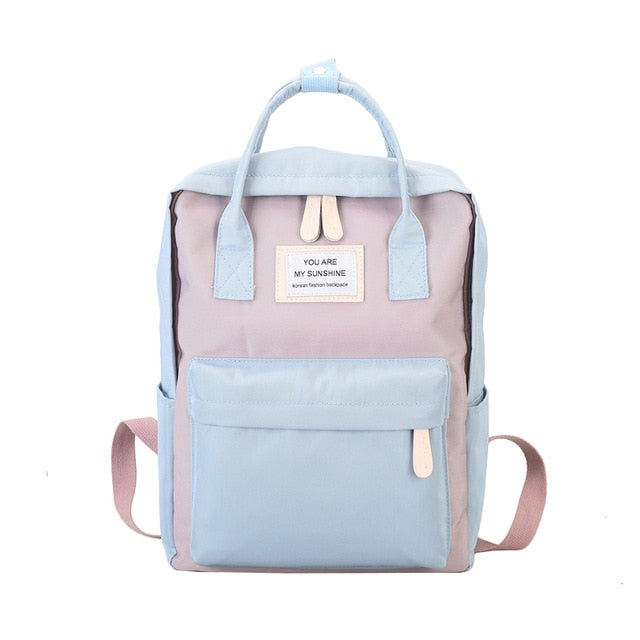 Women Canvas Backpacks Candy Color Waterproof School Bags for Teenagers Girls Big Cute Laptop Backpack Patchwork Kawaii Backpack