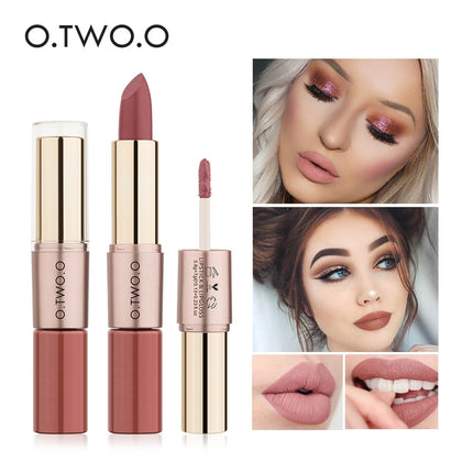 O.TWO.O 12 Colors Lips Makeup Lipstick  Lip Gloss Long Lasting Moisture Cosmetic Lipstick Red Lip Matte Lipstick Waterproof