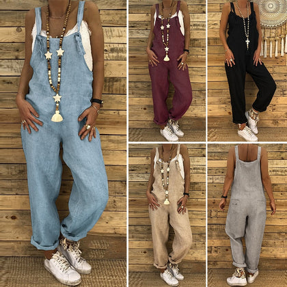 Plus Size Linen Overalls 2019 ZANZEA Vintage Casual Dungarees Jumpsuits Women Long Rompers Female Harem Pants Trousers Pantalon
