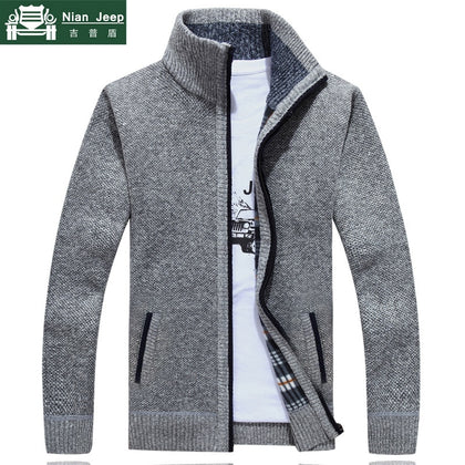 New Sweater Men Autumn Winter SweaterCoats Male Thick Faux Fur Wool Mens Sweater Jackets Casual Zipper Knitwear Size M-3XL