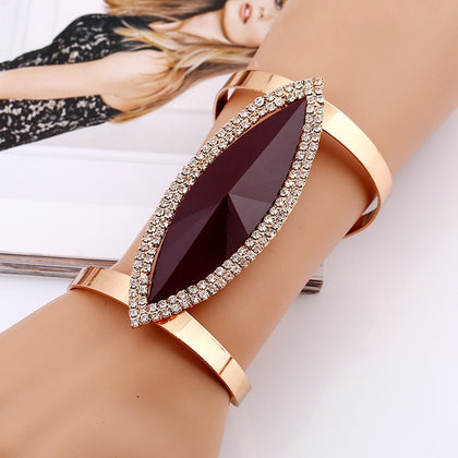 Maxi Metal Bangles Women Trendy Resin Mosaic Crystal Bracelet