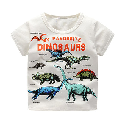 SAILEROAD 2-8 Years Cartoon Dinosaur Print Baby Boys Shorts T Shirt