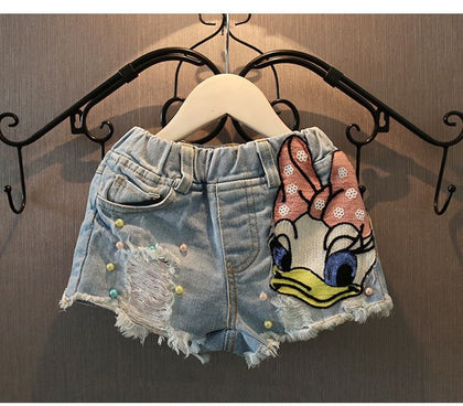 Girls cute Shorts Denim Cartoon Daisy Duck hole Baby Ripped Jeans Short