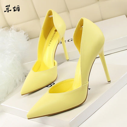 Women Pumps Fashion High Shoes Black Pink Yellow Heels