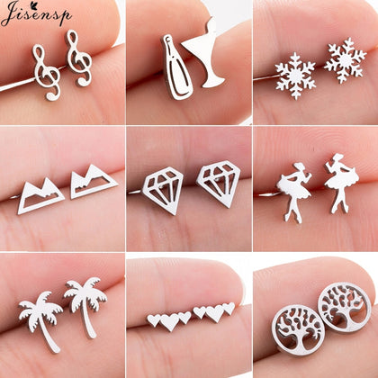 Jisensp Stainless Steel Ballet Earrings for Women Mickey Earing