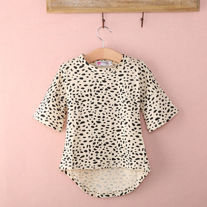 Cute Half Sleeve Leopard Print T shirt Top For Girls