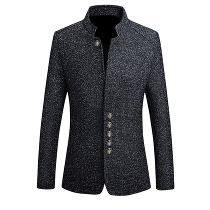 Mens Vintage Blazer Coats Chinese Style Business Dress Blazers