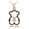 Trendy Cute Bear Necklaces Pendant for Woman Gold Cubic zirconia Necklace