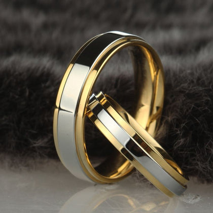 Stainless steel Wedding Ring Silver Gold Color Simple Design Couple