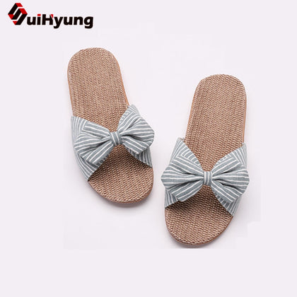 Summer Casual Slides Comfortable Flax Slippers Striped Bow Linen Flip Flops