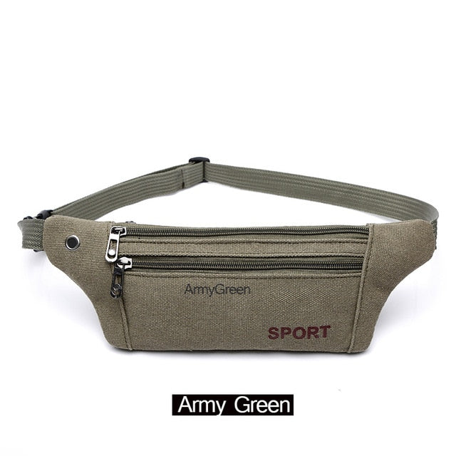 AIREEBAY Men Casual Durable Fanny Waist Pack Male Waist Bags Belt Canvas 2019 New Hip Bum Military Bag Pouch Three Zipper Pocket