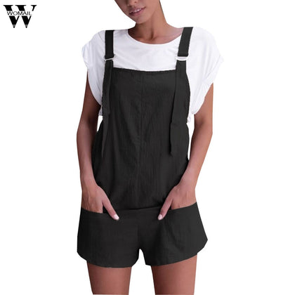 Womail bodysuit Women Summer Fashion Elastic Waist Dungarees Linen Cotton Pockets Rompers Playsuit Shorts NEW dropship M6
