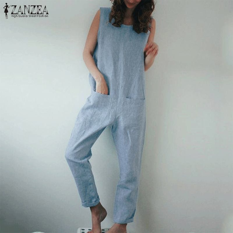 2019 Fashion Rompers Women Jumpsuit ZANZEA Ladies Overalls Vintage Long Dungarees Jumpsuits Cotton Linen Long Pants Playsuit
